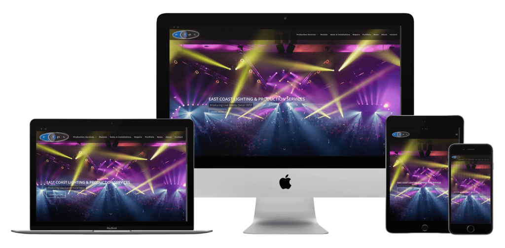 lighting and concert production website design